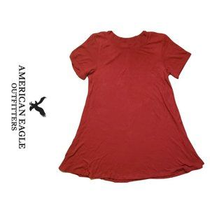 Red Flowy American Eagle Short Sleeve Top - Small